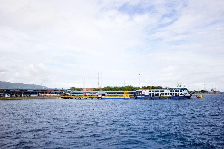 ship. Beautiful sea and sky. travel. Asian port ASIA Beautiful Nature Sky. Travel Blue Port Sea Ship First Eyeem Photo
