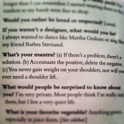 Love this little tidbit from Donnakaran  in Bazaarmagazine . Positivethinking Bouldashouldas