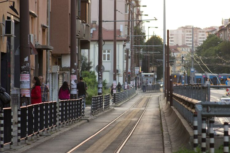 Tramway On Street By Buildings