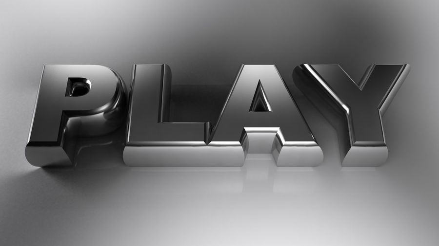 The write PLAY, written with metallic chrome letters, on white surface - 3D rendering illustration 3d Rendering Button Icon Industry Music Precious Chrome Concept Design Entertainment Execute Game Illustration Manufacture Metal Metallic Play Player Sign Technology Text Three Dimensional Video