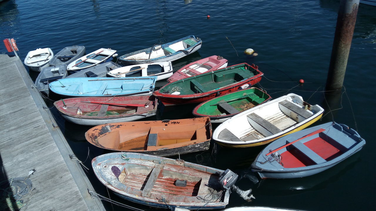 transportation, nautical vessel, high angle view, moored, water, mode of transport, boat, no people, outdoors, day, lake, nature