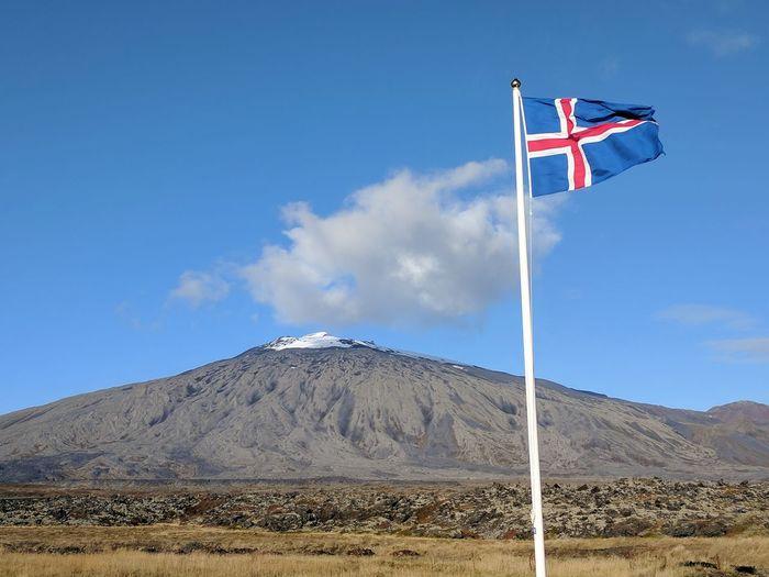Travel In Iceland Landscape South Face Slope Snaefellsnes Peninsula Snæfellsjökull Iceland Icelandic Flag Snæfellsnes Mountain Flag Wind Pole Sky Landscape National Icon Scenics Idyllic Remote