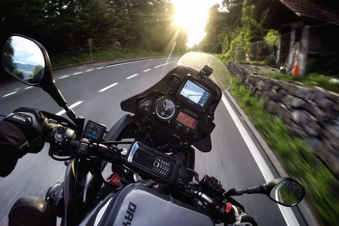On Tour Transportation Road Motion Speed Handlebar Personal Perspective Outdoors Mode Of Transport Street Land Vehicle Motorcycles Motorcycle Motorsport Motorbike Day Nature Curve Yamaha Xt660z Tomtom Navigation On The Move Bike Ride