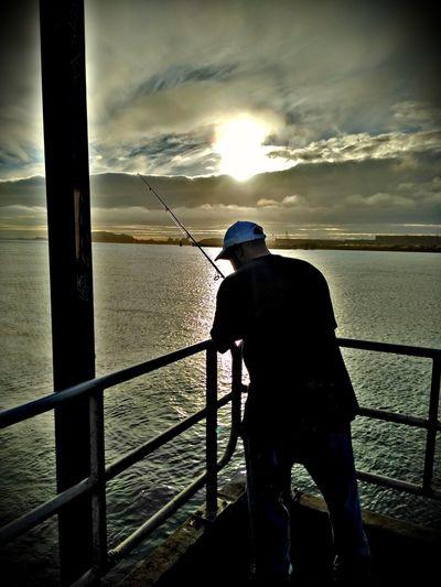 Dad Trinidad Humboldt Bay Sun No Fish Sunlight Sky And Clouds Fishing Pole Water Sea Standing Full Length Men Sunset Fisherman Fishing Fishing Rod Fishing Industry Shore Calm Dramatic Sky