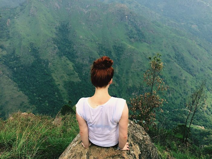 Ella rock Sri Lanka Sitting Nature Looking At View Beauty In Nature Green Color One Person Lifestyles Young Adult Mountain Wilderness Area Only Women