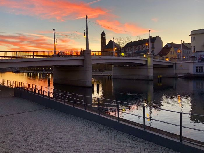 Built Structure Water Architecture Sky Sunset Connection Building Exterior Bridge Reflection Nature Waterfront No People Outdoors River City Dusk