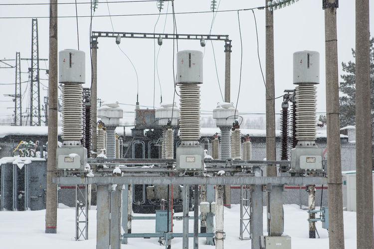 Panoramic shot of factory in winter