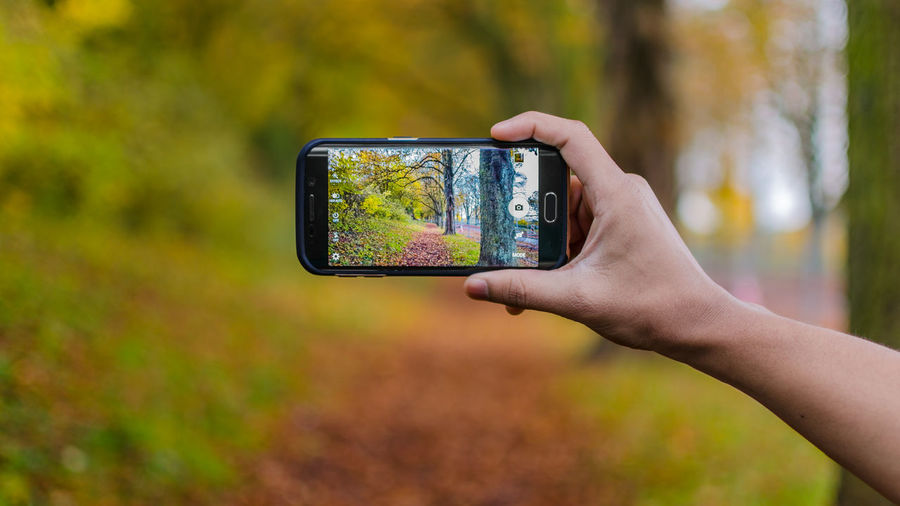 Cropped image of hand holding camera phone outdoors
