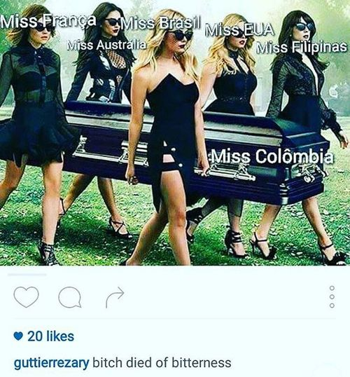 Found this pic in IG and made me laugh... But I must agree, bitterness do kill... Msuniverse2015 BitterMsColombia MsPhilippines MsColombia
