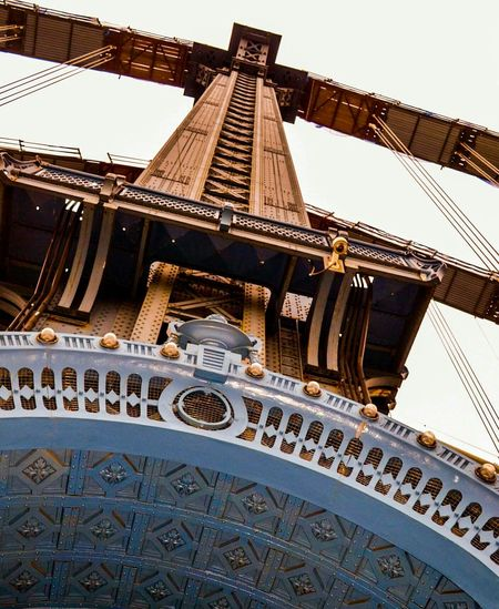 Lookingup at the Architecture of the Manhattan Bridge in New York City. City Photography