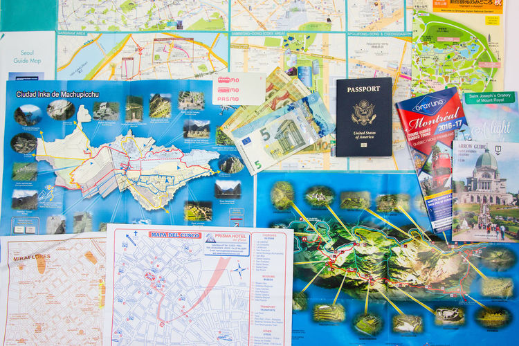 Travel Lay Flat, maps Currency Map Passport Travel Destination Flat Lays Guide Map Tourism Travel Destinations