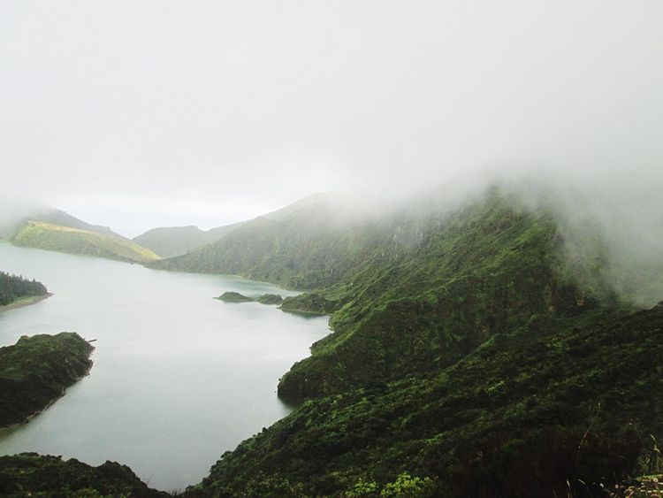 Lagoa do Fogo, Açores EyeEm Nature Lover Travel Portugal_em_fotos Vulcanic Landscape Geology Azores, S. Miguel Mist Tranquil Scene Weather No People Idyllic Day Outdoors Water Landscape Mountain Range Hazy