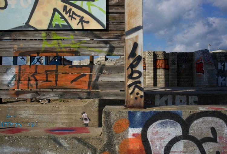 Graffiti, derelict place Composition Concrete Derelict Place Graffiti Orange Signs Sky Urban Landscape