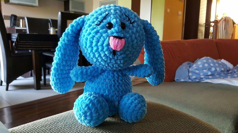 rabbit toy blue teddybear animal pink nose