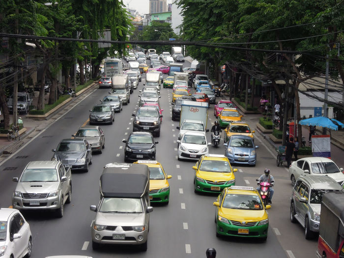 High angle view of cars moving on road