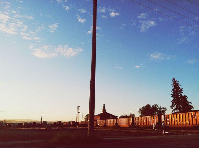 Stuck at a train at 5:30AM. Train Morningprobs Helena BNSF Trains Sunrise 406 IPhoneography Randomshot Soearly Quietmoment