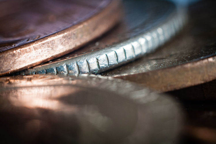Close-up Coins Copper  Depth Of Field Detail Loose Change Metal Milled Edge Money No People Selective Focus Shiny Silver  Textured  Wealth