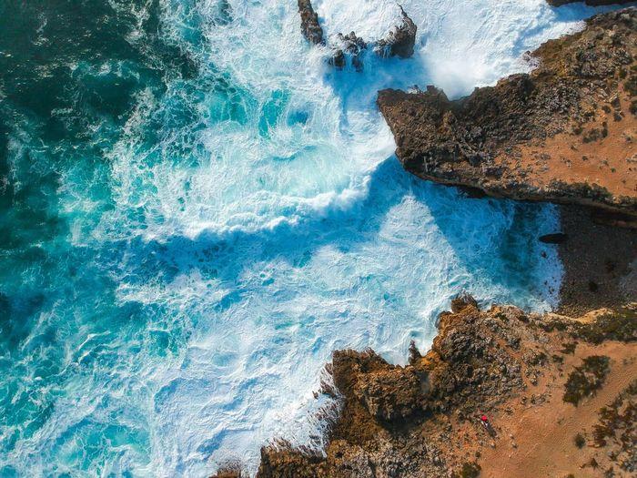 High angle view of sea waves
