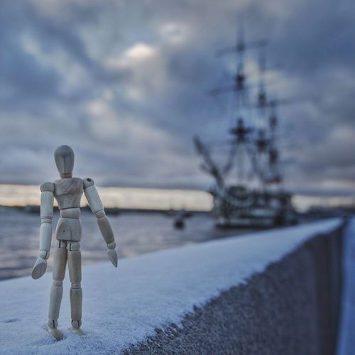 Winter at last Saint Petersburg Creativity Woodyforest Sky Full Length Human Representation Outdoors Walking Water Rear View Cloud - Sky Standing One Person Winter Cold Temperature Nautical Vessel Day