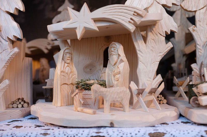 Wooden carving of nativity scene Christmas Christmas Figures Manger Mary Nativity Scene Baby Jesus Carved Nativity Scene Carved Wooden Figures Carving - Craft Product Decoration Religion Sculpture Shooting Star Spirituality Statue