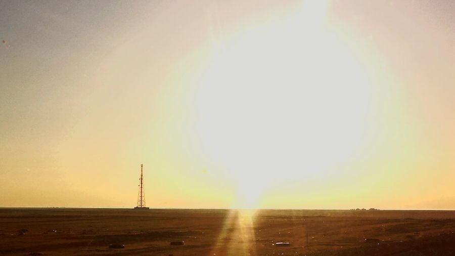 ....and then the sun exploded Desert Brightskies Photography Sunburst Radiotower Desolate Sunnyday Sandsofkuwait