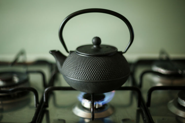 Close-Up Of Kettle On Stove
