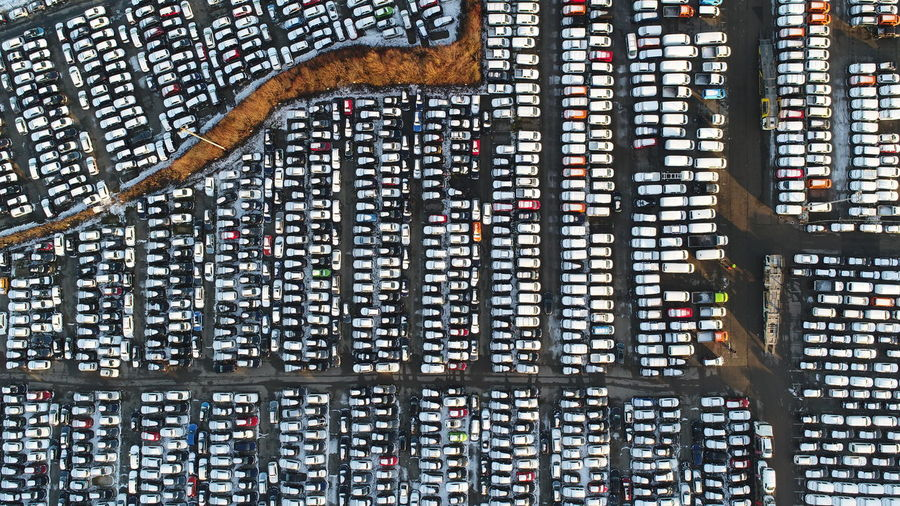 Aerial view of parking lot in city