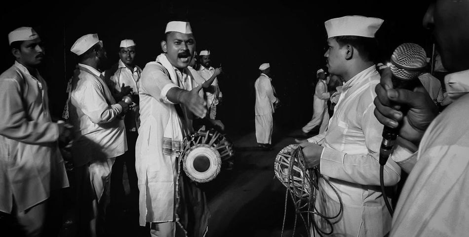 Mobilephotography Samsungphotography Bhajan Mandalina Black And White Candid EyeEm Selects Singer  Men Arts Culture And Entertainment Fan - Enthusiast Party - Social Event Archival Music Concert Music Festival Traditional Dancing Live Event