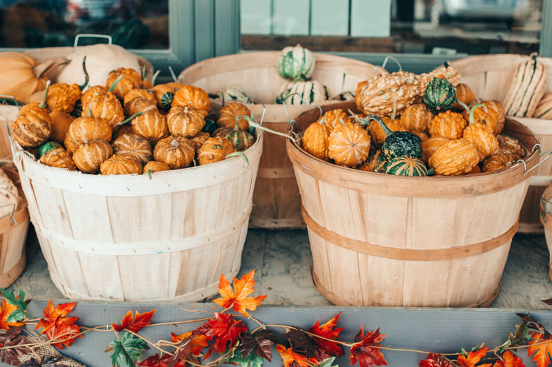 Red, yellow, green pumpkins in baskets by store on farm. store outdoor decoration.