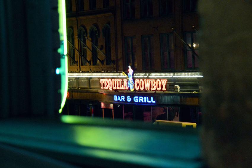 Bar Sign Building Exterior Collection Dark Illuminated Nashville Neon Night Window