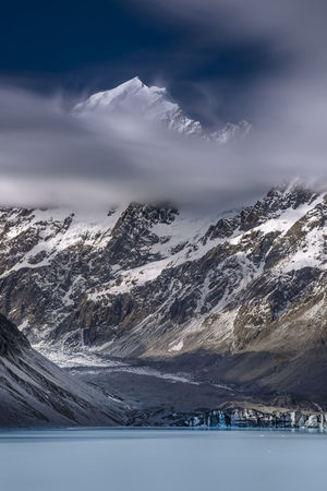 Mount Cook Emerging above clouds Mountain Scenics - Nature Cloud - Sky Water Tranquil Scene Nature Landscape Ice Mountain Range Snow No People Mountain Peak Mount Cook Outdoors Sky Glacier Long Exposure New Zealand