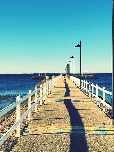 Wynnum Jetty walkway to the horizon Sky Sea Water Clear Sky Nature Sunlight Beach