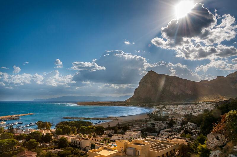 Cloud Cloud - Sky Coastline Day Horizon Over Water Mountain Nature No People Scenics Sea Sicily ❤️❤️❤️ Sky Sun Sunbeam Sunlight Sunny View Water