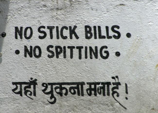 Indian Writing Mumbai, India No Spitting Wall Sign Close-up Communication Day Indoors  No People Stick No Bills Text Textured