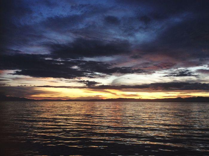 Sunset Sea Dramatic Sky Philippines Cebu Alegriadiveresort Alegría Diving Snorkelling