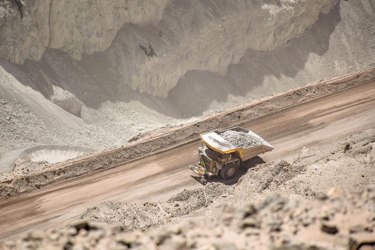 Truck working on chuquicamata copper mine, atacama, chile