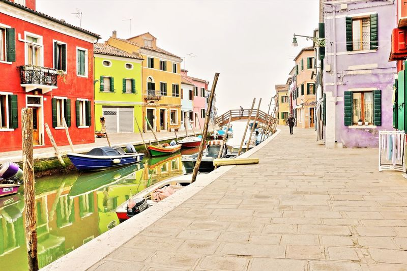 Architecture Building Exterior Built Structure Burano Italy Close To Venice . Perfect Place For Pastel Colors And Blue Sky . Dolce Vita Colourful Colourful Houses Old Houses Burano, Venice Burano4 Canal Day Gondola - Traditional Boat Mode Of Transport Moored Outdoors Sky Transportation Travel Destinations Water