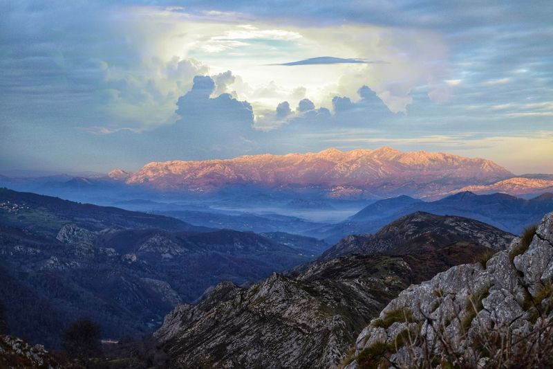 Picos De Europa SPAIN Asturias Picos De Europa Sky Cloud - Sky Mountain Mountain Range Scenics - Nature Environment Beauty In Nature Valley Idyllic Land Sunset Tranquility Tranquil Scene Nature Landscape Outdoors Mountain Peak Tree Non-urban Scene No People