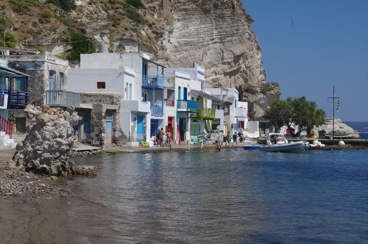 Milos Island Architecture Beach Building Exterior Built Structure Cliff Day Fischerhäuser Greece Grichenland Milos Moored Mountain Nature Nautical Vessel No People Outdoors Rock - Object Sea Sky Transportation Tree Water Waterfront