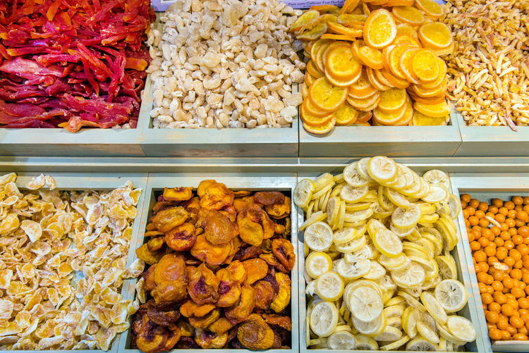 Assortment of dried fruits in Mahane Yehuda market, Jerusalem Herbs Mahane Yehuda Market Market Nuts Tea Almonds Choice Colorful Dried Fruit Food Freshness Fruits Israel Jerusalem Jerusalem❤ Lemon Market Marketplace Spice Spice Market Sweets Tasty Variation Varity Yehuda Market