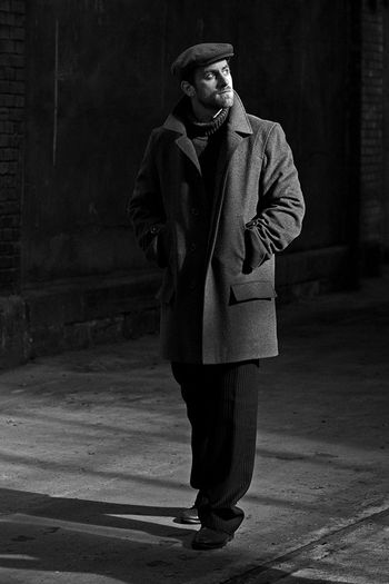 Cardigan Man Black And White Friday Bonnet Full Length Light And Shadow Moody Mystical One Man Only Outlook On Life Suit Walking Well-dressed