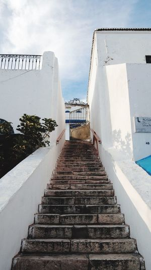 Tunis, Tunisia, 2018 Canonm50 Canon M50 Tunis Tunisia Architecture Built Structure Sky The Way Forward Direction Staircase Day Nature Building Exterior Building Diminishing Perspective Steps And Staircases Leadership No People Outdoors Cloud - Sky Railing Wall - Building Feature Water
