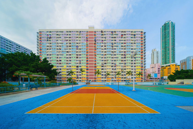 Empty sports court in city
