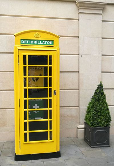 Paint The Town Yellow The Yellow Phonebox Yellow No People Phonebox Defibrillator Station Bath, UK