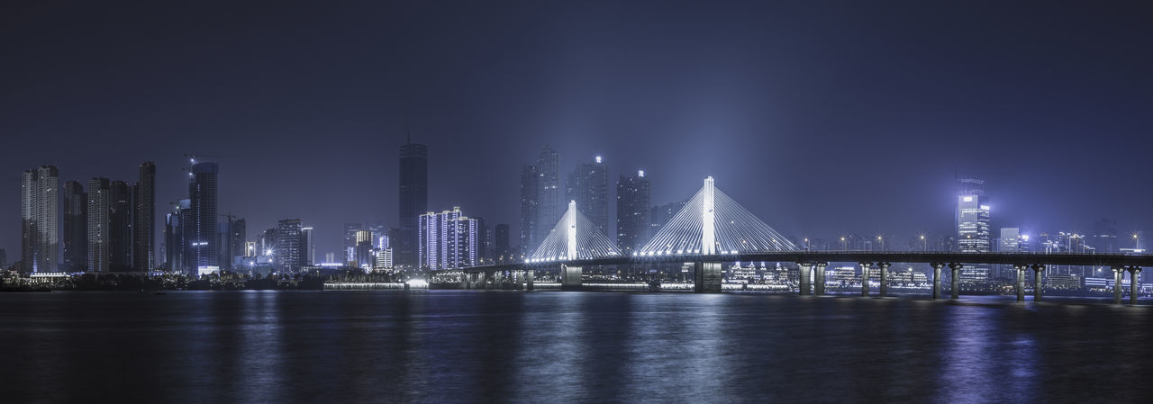 bridge under the night Architecture City Cityscape Reflection Bridge Night Outdoors Urban Urban Skyline Water