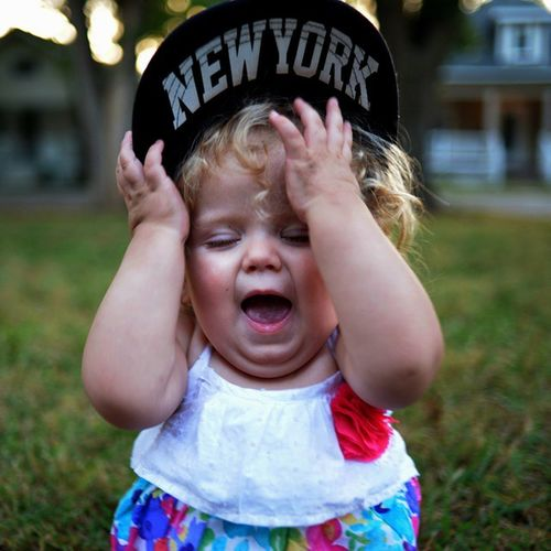 My Daughter Isabella  being Cute with my Hat ...... Newyork NY Beautiful Baby Babylife Blond Girl Happy Gorgeous Smile