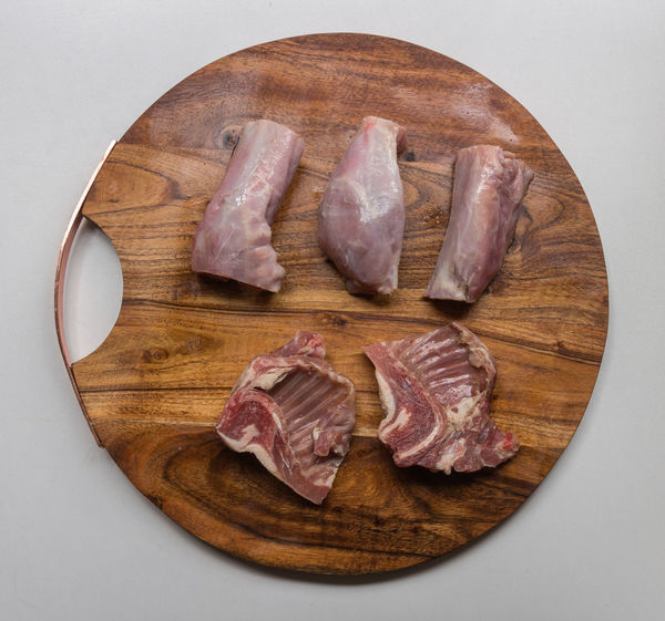 Butcher Isolated Jointed Raw Chopping Board Close-up Cutting Board Food Food And Drink Fresh Freshness Kitchen Meat No People Organic Preparation  Rabbit Raw Food Round Still Life Studio Shot Table White Background Wood - Material