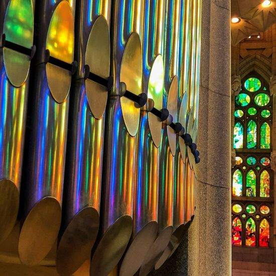 Sagrada Familia Church Multi Colored No People Stained Glass Indoors  Hanging Arrangement Art And Craft Creativity Window Architecture Decoration Pattern Design