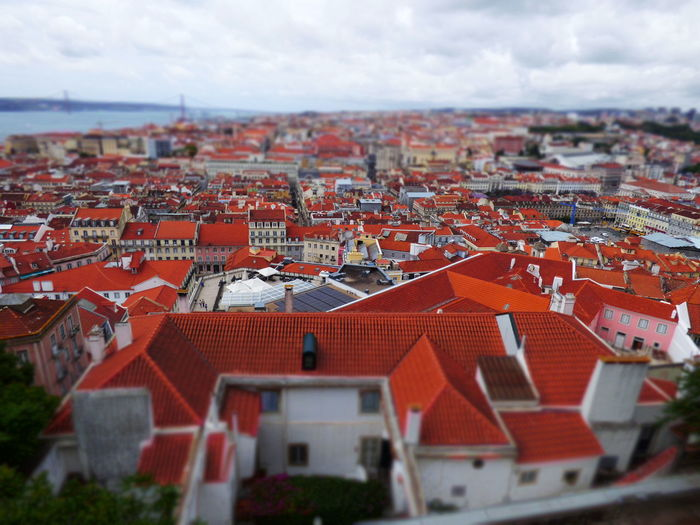 Architecture Roof City Town Outdoors Building Exterior Built Structure Building Residential District House High Angle View Sky Red No People Nature Day Cloud - Sky Tilt-shift Cityscape Roof Tile TOWNSCAPE