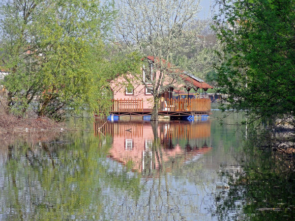 Spring flood on the river, floating house Beauty In Nature Day Floating House Flood Nature No People Outdoors Reflection River Water